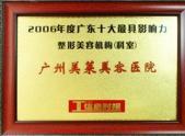 2006年度广东十大最具影响力整形美容机构