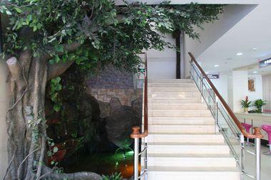 医院环境   天津现代女子医院楼梯口 医院楼梯口:楼梯口的假山是医院