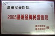2005温州品牌民营医院