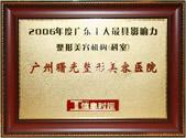 2006年广东十大最具影响力整形美容机构