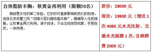 北京武警三院丰胸优惠