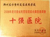 2008年度河南省民营医院综合满意度调查十强医院