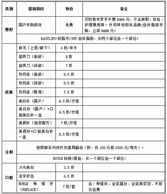 北京丽都7月促销优惠项目