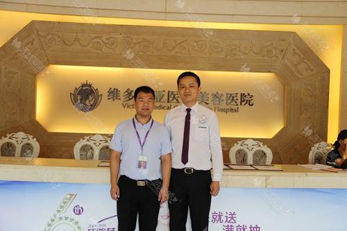 无忧爱美刘经理(左)和杭州维多利亚吴总合影