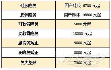 郑州欧兰隆鼻价格表