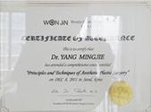 2011年韩国原辰整形美容医院学习证书