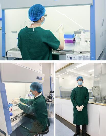 抽完后血液直接送到百级层流生物实验室,此间生物实验室具备国际最高标准洁净环境,能保证室内360度无污染物残留。