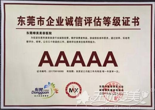 东莞市企业诚信评估等级证书