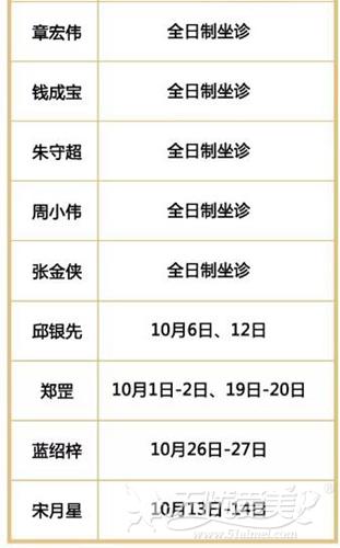 南京华韩奇致10月专家坐诊时间表