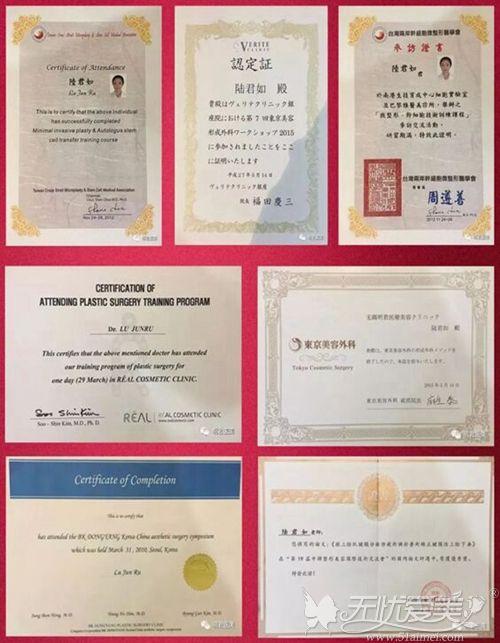 中国台湾整形医生陆君如资质与证书