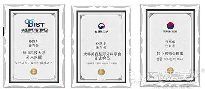 孙熙东院长的资质证书